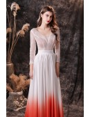 Ombre White Orange Chiffon Lace Long Sleeve Prom Dress with Sweetheart Neck