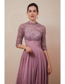 Modest Purple Long Chiffon Formal Special Occasion Dress For Woman with Sleeves