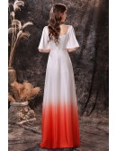 White And Orange Button Long Formal Party Dress with Flare Sleeves