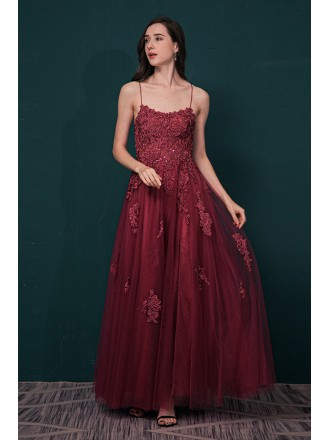 Rust Red Long Slit Tulle Lace Prom Dress with Open Back