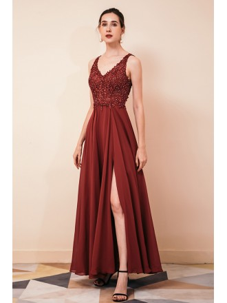 Sleeveless Long Slit Chiffon Formal Party Dress with Lace Beading Top