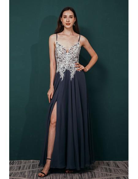 Blue Chiffon White Lace Beading Prom Dress with Spaghetti Straps Long Slit