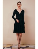 Pleated Chiffon Black Short Formal Dress V Neck with Long Sleeves