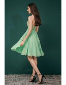 Simple Strapless Short Chiffon Lime Green Bridesmaid Party Dress