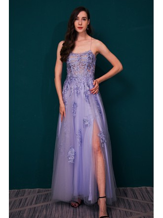 Open Back Lavender Tulle Lace Prom Dress with Long Slit