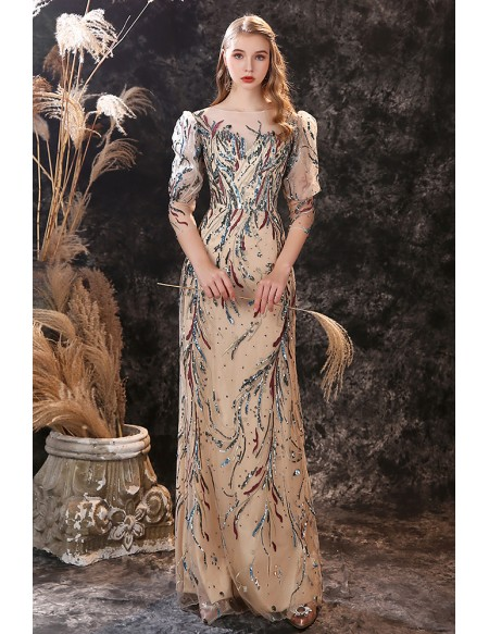 Exquisite Sequin Applique Long Formal Dress with 3/4 Sheer Sleeves