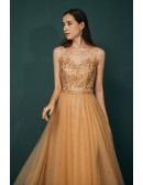 Sleveless Long Tulle Lace Beading Gold Prom Dress For Woman