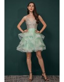 Sparkly Sequin Green Short Gown Prom Homecoming Dress V Neck with Spaghetti Straps
