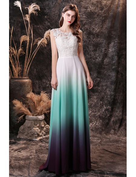 Ombre Green Sleeveless Long Chiffon Formal Prom Dress with Lace Top