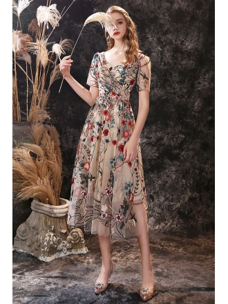 Tea Length Special Floral Embroidery Prom Dress with Short Sleeves