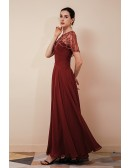 Rust Red Chiffon Long Formal Party Dress with Beading Cape Sleeves