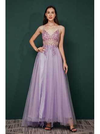 Sexy V Neck Long Slit Lavender Prom Dress with See Through Lace Beading