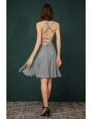 Simple Short Grey Beading Chiffon Party Dress with Open Back
