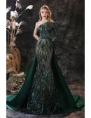 Dark Green One Shoulder Sleeve Seuqin Prom Dress Sparkly with Removable Train