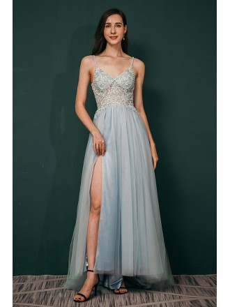 Dusty Blue Open Back Long Slit Tulle Prom Dress with Lace Beading