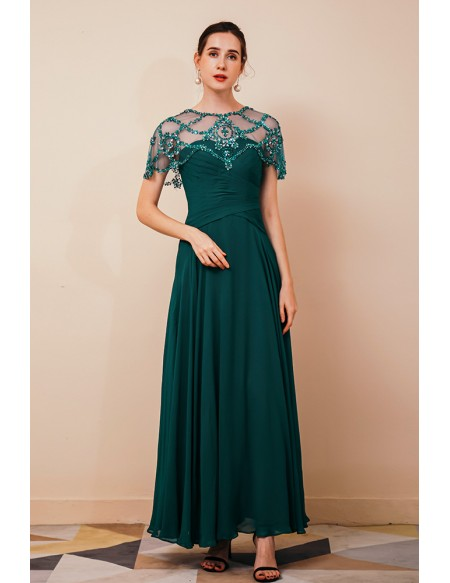 Pleated Long Chiffon Formal Dres with Beading Cape Sleeves