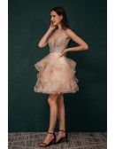 Sexy V Neck Sparkly Pink Short Prom Gown with Spaghetti Straps