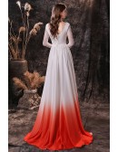 Sweetheart Chiffon Lace Long Sleeve Prom Dress In Ombre White Orange