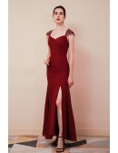 Long Fitted Mermaid Pleated Cap Sleeve Lace Party Dress with Slit