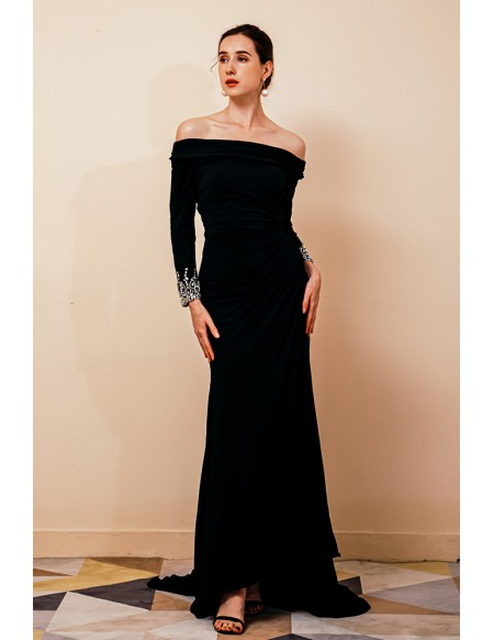 Off Shoulder Sleeves Fitted Mermaid Formal Black Dress with Slit