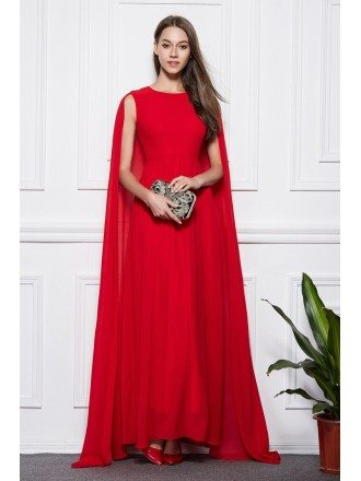 Elegant A-Line Red Chiffon Long Evening Dress With Cape