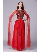 Chic A-Line Embroided Lace Long Prom Dress With Ruffle