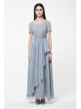 Elegant Chiffon and Lace Grey Long Dress with Short Sleeves
