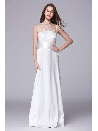 Elegant A-Line Satin Floor-Length Evening Dress With Applique Lace
