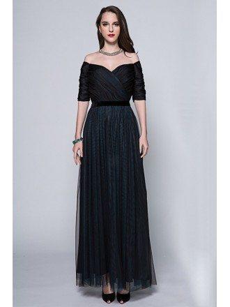 Elegant A-Line Off-the-Shoulder Tulle Long Formal Dress