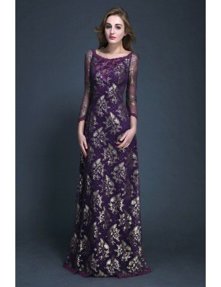 Gorgeous A-Line Lace Embroidered Mother of the Bride Dress With Sleeves