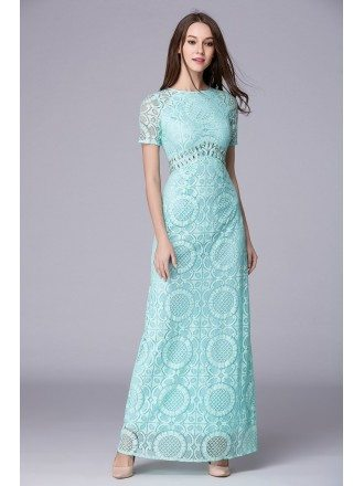 Mint Green Feminine A-Line Lace Long Prom Dress With Sleeves