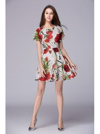 Summer Floral Print Chiffon Short Weeding Guest Dress With Sleeves