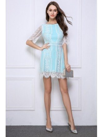 Chic Lace Mini Weeding Guest Dress With Open Back