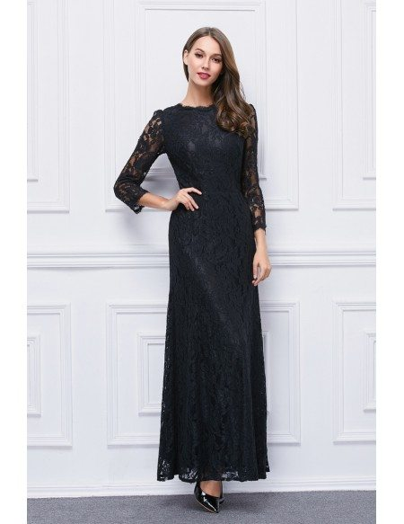 Elegant A-Line Black Lace Long Dress With Sleeves