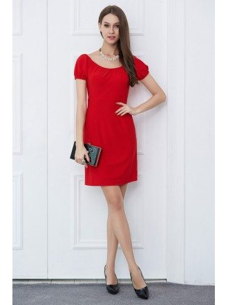 Casual Red Short Weeding Guest Dress With Sleeves
