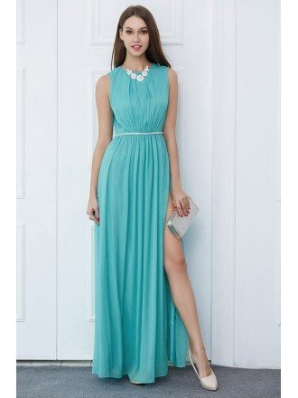 Modest A-Line Chiffon Long Wedding Party Dress With Split