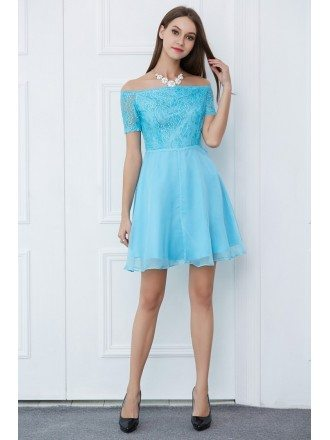 Lovely A-Line Off-the-Shoulder Lace Chiffon Short Homecoming Dress With Sleeves