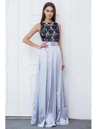 Elegant A-Line Lace Satin Long Prom Dress With Ruffle