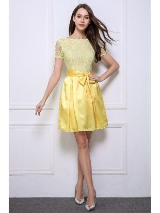 Lovely A-Line Lace Satin Short Homecoming Dress With Sleeves