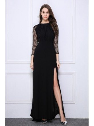 Elegant A-Line Lace Chiffon Long Evening Dress With Split