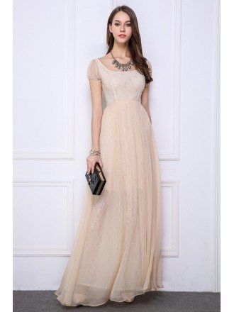 Champagne Elegant High Waist Chiffon Lace Long Evening Dress With Cape Sleeves