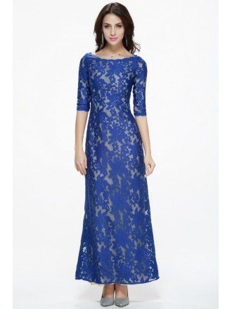Fashionable Royal Blue Long Lace 1/2 Sleeved Dress