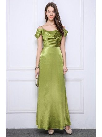 Elegant A-Line Satin Long Evening Dress With Ruffle