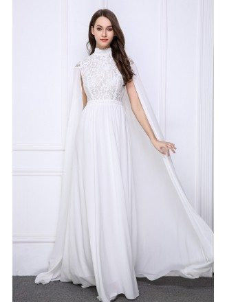 Elegant Goddess A-Line High Neck Lace Chiffon Evening Dress With Ruffle