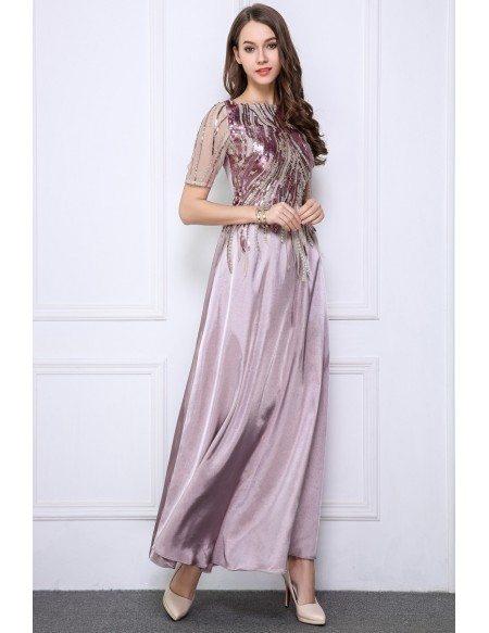 Elegant A-Line Satin Long Evening Dress With Sequins