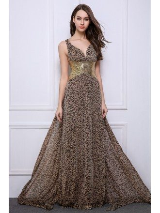 Stylish Sheath V-neck Leopard Print Wedding Guest Dresses