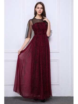 Elegant A-Line Chiffon Printed Long Evening Dress With Sleeves