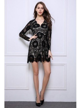 Stylish A-Line Black Lace Mini Wedding Guest Dresses With Long Sleeves