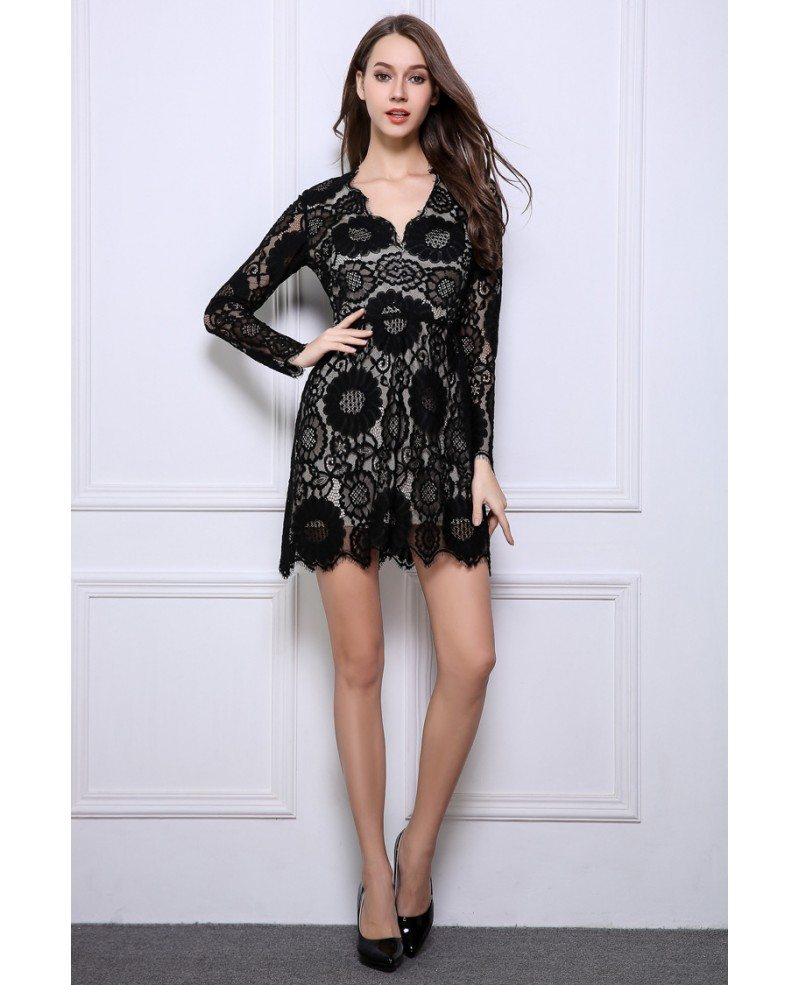 Stylish A,Line Black Lace Mini Wedding Guest Dresses With Long Sleeves  DK354 $78.2 , GemGrace.com