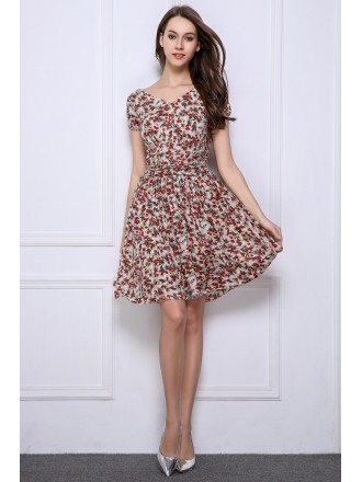 Summer Stylish A-Line Floral Print Short Wedding Guest Dresses With Sleeves